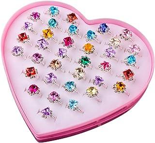 36 Pcs Kids Rings Fashion Princess Cute Dress Up Rings Baby Toy Rings Pretend Play Rings for Babies Kids Girls Women