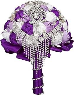 FAYBOX Handmade Rhinestone Brooch Stunning Tassel Wedding Bridal Bouquets PUR