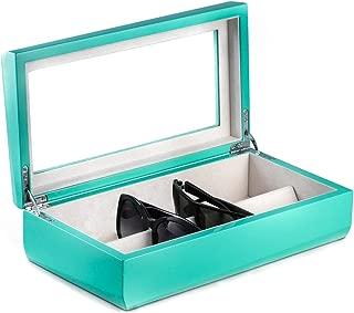 Executive Turquoise Lacquered Wood Eyeglasses Eyeglass Storage Case Box