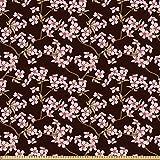 ABAKUHAUS Flor De Cerezo Tela por Metro, Jardín Japonés, Microfibra Decorativa para Artes y Manualidades, 10M (148x1000cm), Brown De La Castaña De Café Crece