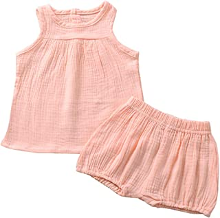 Weixinbuy 2Pcs Baby Girls Summer Clothing Sets Sleeveless Tank Tops T-Shirt + Bloomer Shorts Outfits