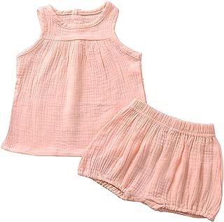 Weixinbuy 2Pcs Baby Girls Summer Clothing Sets Sleeveless Tank Tops T-Shirt + Bloomer Shorts Outfits
