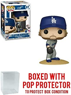 POP! Sports MLB's Los Angeles Dodgers, Clayton Kershaw Grey Road Jersey #07 Action Figure (Bundled with Pop Box Protector to Protect Display Box)