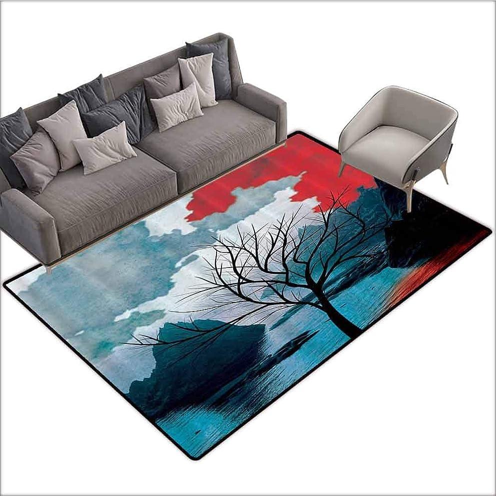 Thin Non-Slip Kitchen Bathroom Carpet Colorful Winter Tree,Mystic Landscapes Watercolor Design Mountains Art Prints Rocks Creative Thinking Home Habitat,Black Red Teal White 60