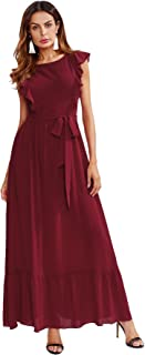 Women's Elegant Fit and Flare Belted Self Knot Frill Sleeveless Party Long Maxi Dress