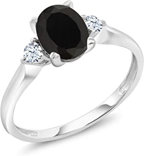 Gem Stone King 10K White Gold Black Onyx and White Created Sapphire 3-Stone Women's Ring 1.35 Ctw (Available 5,6,7,8,9)