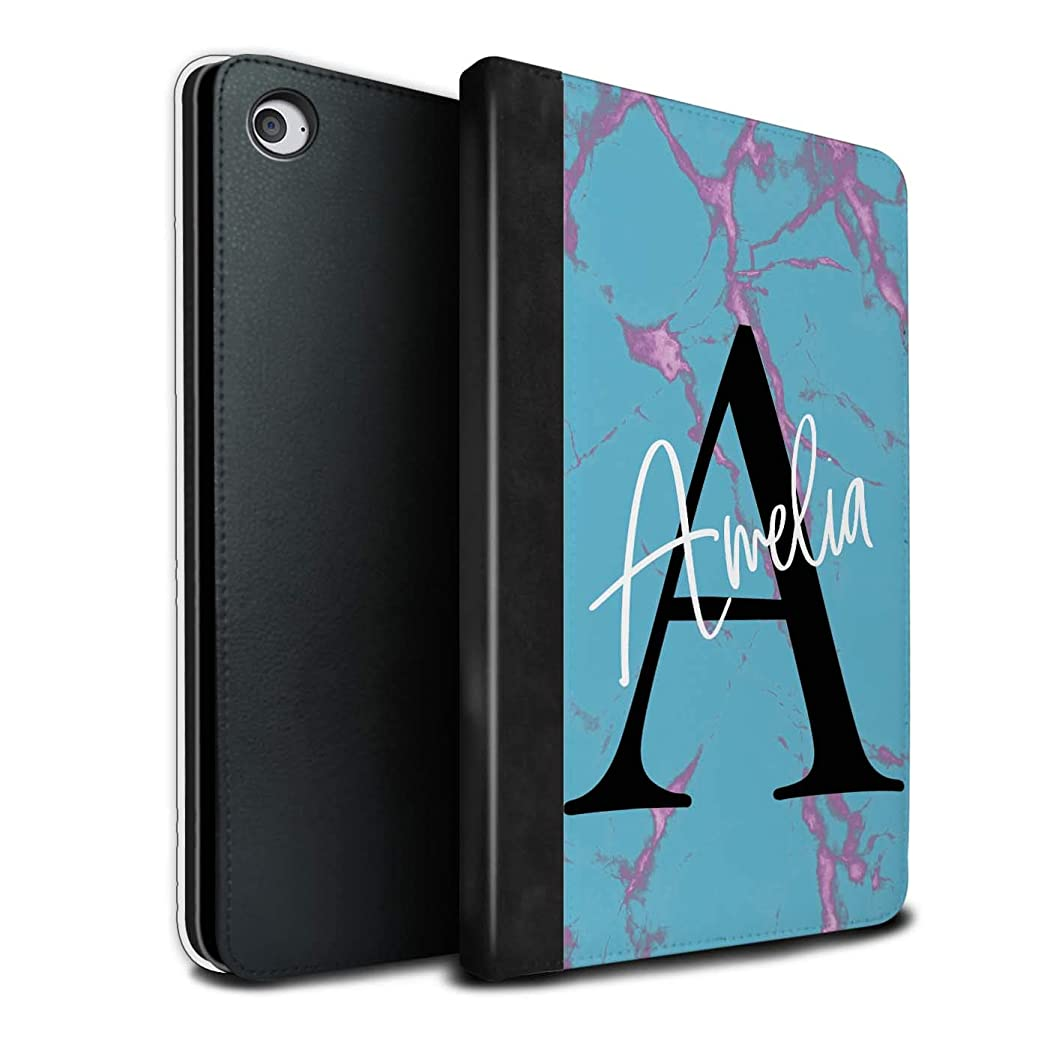 Personalized Custom Marble Initial Handwritten PU Leather Case for Apple iPad Mini 4 / Aqua Blue Black Letter Design/Initial/Name/Text DIY Tablet Book Cover