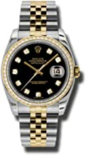 Rolex Oyster Perpetual Datejust 36 Black Dial Stainless Steel and 18K Yellow Gold Rolex Jubilee Automatic Ladies Watch 116243BKDJ