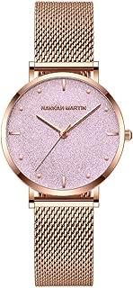Women's Rose Gold Quartz Watch Stainless Steel Waterproof Mesh Belt Watch Bracelet Set Ladies and Girls Gifts