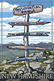 Presidential Range, New Hampshire - Destinations Sign (9x12 Art Print, Wall Decor Travel Poster)