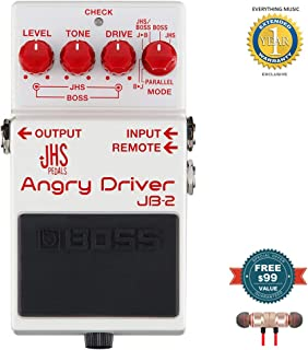 BOSS JHS JB-2 Angry Driver Over Drive Pedal for Electric Guitar includes Free Wireless Earbuds - Stereo Bluetooth In-ear and 1 Year Everything Music Extended Warranty