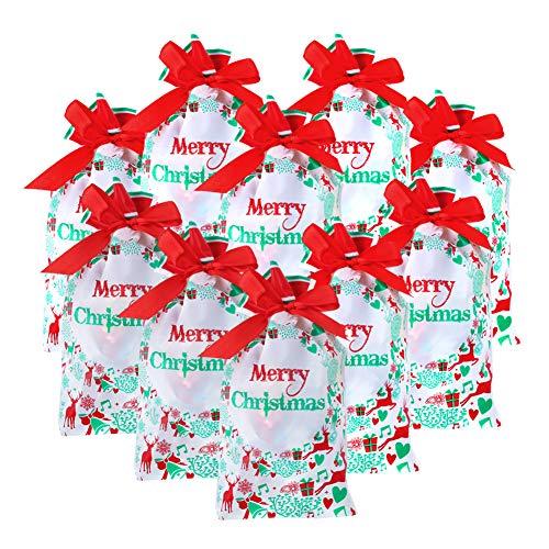 Bolsas navideñas con cordón,50 piezas Bolsas navideñas de regalo Bolsas para dulces de regalo Bolsas de envoltura de golosinas Bolsas de regalo con estampado de campanas de regalo fiestas de Navidad