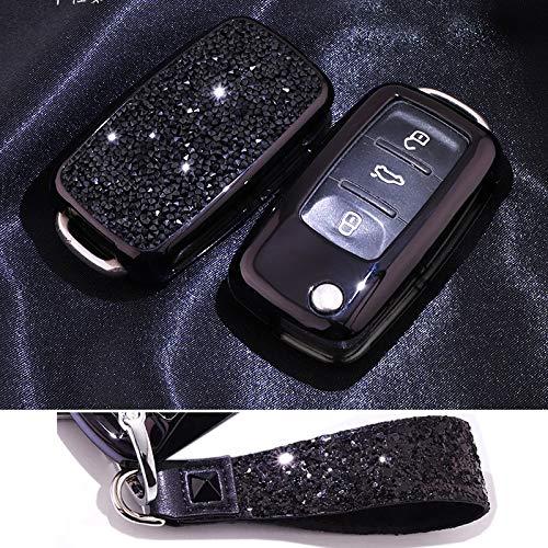 Royalfox(TM) 3-Tasten-Schutzhülle für Autoschlüssel VW MK6 Bora Jetta GTI Passat Golf Tiguan Touareg Beetle Passat Skoda Fabia Octavia Superb mit Schlüsselanhänger-Anhänger, schwarz