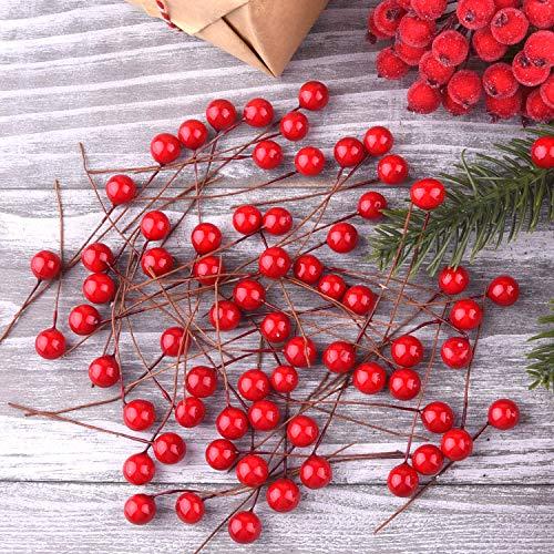 TUPARKA 300 Pezzi Bacche di Agrifoglio di Natale Mini Bacche Artificiali per Decorazioni...