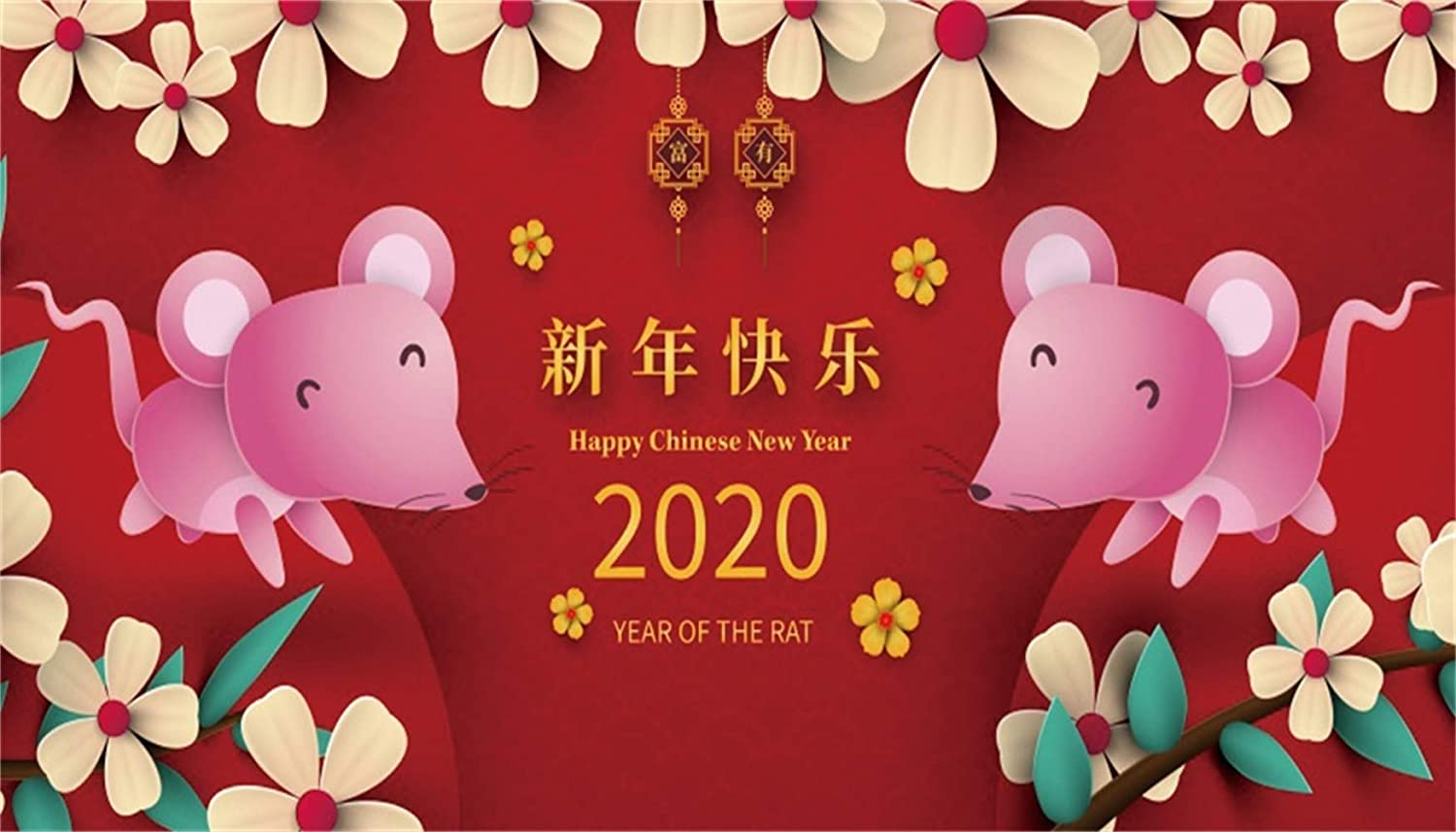Leowefowa 20x12ft Happy New Year 2020 The Year of The Rat Backdrop Vinyl Cartoon Mouse Yellow Flowers Old Lanterns Red Photography Background New Year Carnival Party Banner Wallpaper Studio