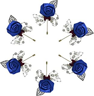 6 Pieces/lot Wedding Boutonniere Handmade Rose Boutonniere Corsage with Pin, Lapel Pin Rose Wedding Boutonniere for Wedding Prom Party Decor (Blue)