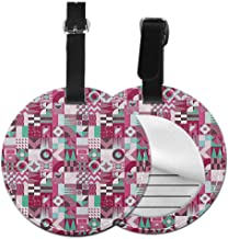 Soft round luggage tag Mid Century Easy to carry Rich Collection of Motifs from Fifties Groovy Unusual Forms Checkered Design,Diameter3.7