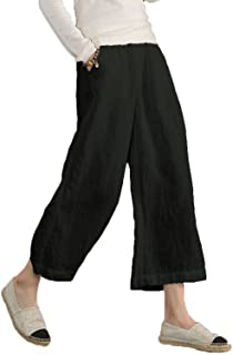 Les umes Women's 100 Linen Causal Plus Size Loose Wide Leg Cropped Pants with Elastic High Waist