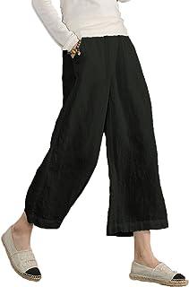 9c88437dc65 Ecupper Women s Elastic Waist Causal Loose Trousers Plus 100 Linen Cropped Wide  Leg Pants