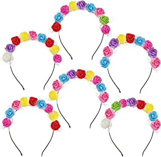 Madholly 6pcs Gay Pride Rose Flower Headband Accessories- 6pcs Floral Flower Crown Stretch Headpiece Costume Floral Garlan...