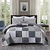 Tagesdecke 3 Stück Handgefertigte Tagesdecke Grauweiß Patchwork Von 230X250cm + 50X70cmx2 Für Bett 135 Oder 150 Reversibel