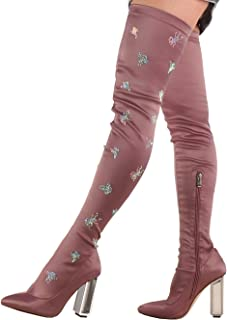472c8644e825 Onlymaker Pointed Toe High Heel Over Knee Rhinestones Embroidered Metal  Steel Boots