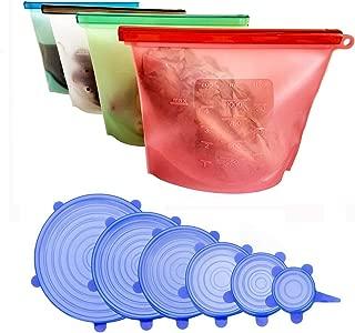 KitchenPRO Juego de Tapas de Silicona + Bolsas de Alimentos Reutilizables de 10 pcs - Congelar Alimentos - envases de selecona- Tapas de Silicona Elásticas - Fundas para Alimentos
