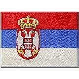 Serbien-Flagge Serbischer Balkan Emblem Bestickter Aufnäher zum Aufbügeln/Annähen