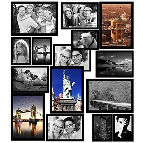 "Magnetic Picture Frames, Photo collage Frame for Refrigerator, Hold 4X6"", 3.5X5"", 3X4.5"", 2.5X3.5"", 2X3"" Photos on Dishwasher, School Locker, Magnetic Board and other Metallic surfaces, 25 Pack, Black"