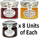 Mixed Pack - Wilkin & Sons of Tiptree Strawberry / Raspberry / Orange Marmalade Preserves - 8 x 28g Mini Jars of Each flavour - 24 unit Mixed Pack