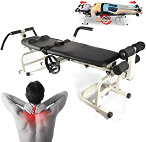 VPABES Traction Bed, Folding Massage Bed Table Cervical and Lumbar Traction Bed Body Stretching Device Back Stretch Bench (US Stock)