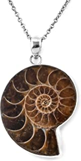 925 Sterling Silver Ammonite Chain Pendant Necklace for Women Jewelry Gift 18