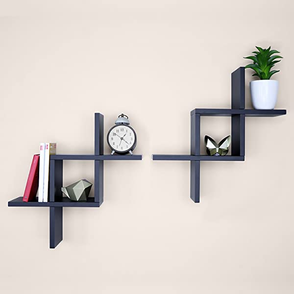 Ballucci Criss Cross Floating Wall Shelf 两件套黑色