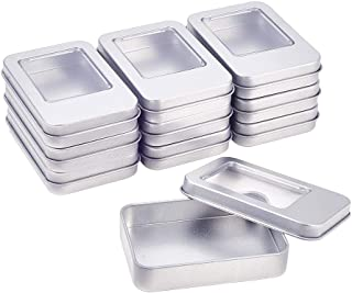 BENECREAT 10 Pack 3.54x2.36x0.68 Inch Silver Metal Tin Cans Rectangle Tin Box with Lids and Small Clear Window for Gifts Party Favors and Other Accessories