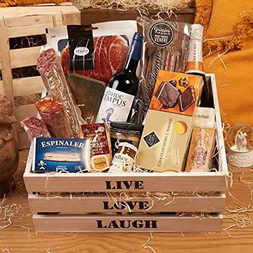 Cesta de Navidad - Regalos Empresa 2019 - LOTE GOUR 400-9 Live Love, cava, vino, jamón ibérico, embutidos, quesos, turrón, conservas, productos artesanales...