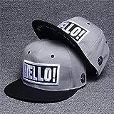 sdssup Hola Sombrero Gris de Hip Hop Sombrero de Corea con protección Solar Marea Gorra de béisbol Bordado Pareja Plana Sombrero Helle 调节