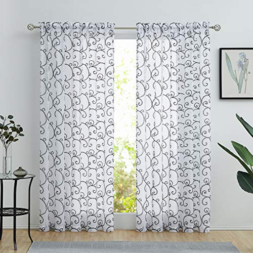 """Variegatex Black Sheer Curtains 84 Inches Long for Living Room Bedroom, Glitter Silver Scroll Embroidered on White Texture Voile Window Drapes with Rod Pocket, 54"""" W 2 Panels"""
