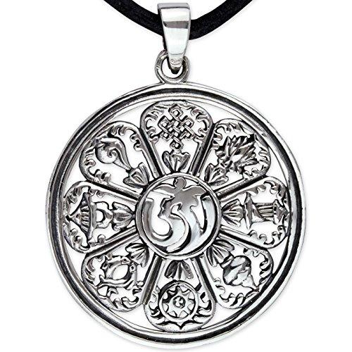 Amulett OM AUM Anhänger aus 925 Sterling Silber mit Lederband Durchmesser 3,2cm