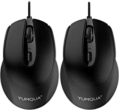 YUMQUA G222 Silent Computer Mouse Wired 2 Pack, Home & Office Optical USB Mouse, 800/1200 DPI Corded Mouse for Laptop Desk...