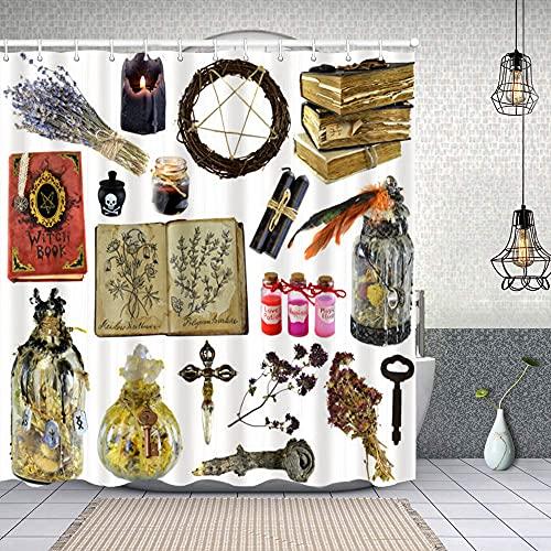 Duschvorhang,Design-Set mit Hexe Buch magische Flasche Kräuter Schwarze Kerze isoliert auf weiß,Enthält 12 Duschvorhanghaken waschbar,Wasserdicht Bad Vorhang für Badezimmer Badewanne 150X180cm