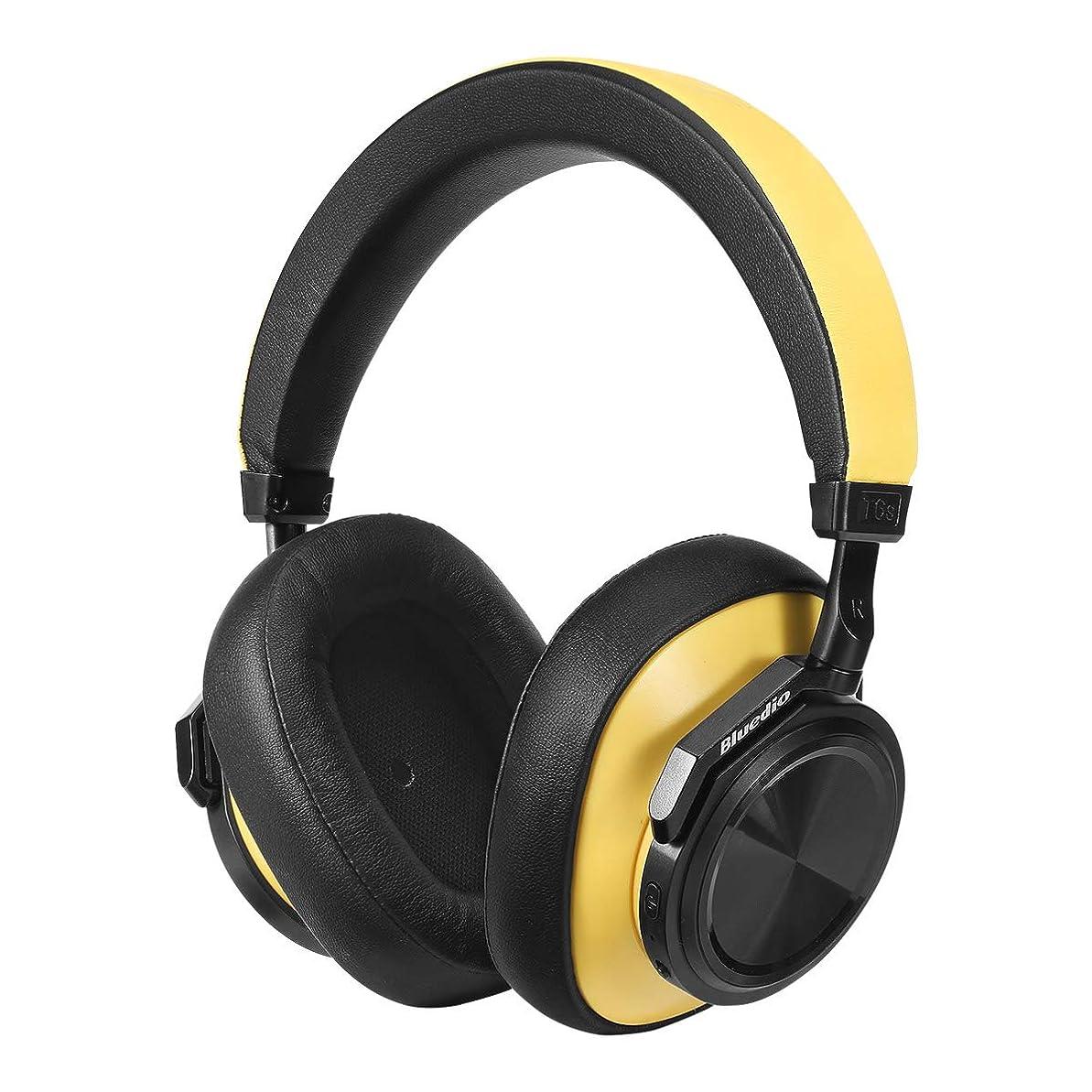 アクセスいま事故Bluedio T6S (Turbine) Bluetooth 5.0 ヘッドホン ノイズキャンセリング 密閉型 高音質 内蔵マイク 32時間再生可能 ハンズフリー通話 ブルートゥース ヘッドフォン (イエロー)
