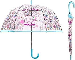 Saisong Clear Bubble Umbrellas with Unicorn Transparent Dome Umbrella Auto OpenWindproof for Kids(Blue)