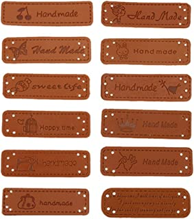 MAXGOODS 24Pcs PU Leather Label Handmade Tag Label Embellishments Ornaments,Craft Decorations with Holes Button Sew Scrapbooking Clothing Accessories for Jeans Bags Shoes Hat