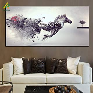 ZWBBO Pintura de la Lona Personalizado Running Horse Canvas Painting HD Impresiones en Lienzo Poster Wall Art Picture Living Room Home Decor-50x60cm