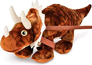 Kicko Triceratops Dinosaur Plush on a Leash - 8 Inch Tag-Along and Cuddly Stuffed Animal Toy - Rewarding Favors, Birthday, Party Supply for Kids and Adults