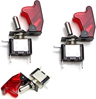 iJDMTOY (2) Aircraft Style 12V/20A Red LED Illuminated On/OFF SPST Toggle Switch w/Safety Flip Cover For Fog Daytime Running Light, Lightbar, etc