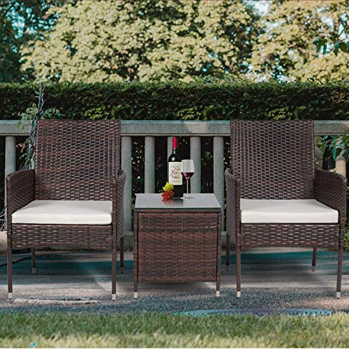 Recaceik 3 Pieces Outdoor Patio Furniture Sets Rattan Chair Wicker Set, with Cushions and Tempered Glass Tabletop, Outdoor Indoor Use Backyard Porch Garden-(Brown)