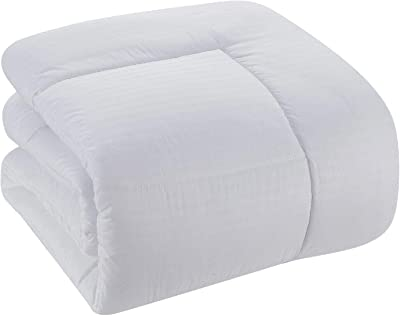 Sweet Home Collection 8 Piece Bed In A Bag with Dobby Stripe Comforter, Sheet Set, Bed Skirt, and Sham Set - Queen - White