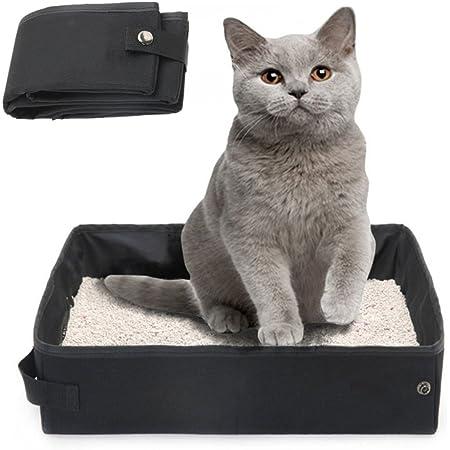 Gifty 猫 しつけるトイレ ポータブルトイレ 防災 移動 折りたたみ 猫用 トイレ本体 訓練 黒(M)