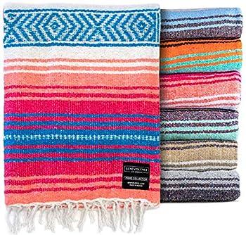 Authentic Mexican Blanket - Park Blanket Handwoven Serape Blanket Perfect as Beach Blanket Picnic Blanket Outdoor Blanket Yoga Blanket Camping Blanket Car Blanket Woven Blanket  Coral
